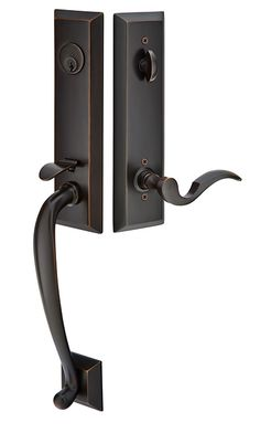 Adams | American Classic Entry Sets | Tubular Entry Sets | Emtek Products, Inc. With the Old Town Clear Crystal Knob on inside - in Oil Rubbed Bronze