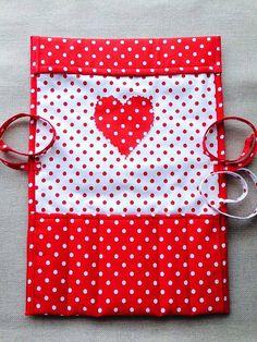 Knitting needle case RED POLKA HEART crochet needle holder roll vintage needle organizer fabric handmade fabric gift Birthday