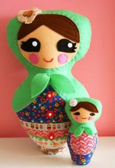 I need this! MAMA MATRYOSHKA & BABY ONE RED ROBIN SOFTIE TOY SEWING PATTERN