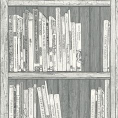 Statement Grey & White Bookcase Wallpaper | Departments | DIY at B&Q