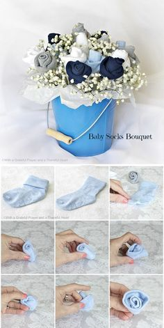Baby Socks Flower Bouquet Tutorial - could use square boxes wrapped to look like baby blocs in place of pail for each table