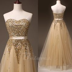 """Fabric:+Tulle Neckline:Sweetheart Color:Gold Silhouettes:+A+Line Embellishments:Beading Back+Detail:Zipper+Back Occasion:+Prom+,Evening,Cocktail++++++ Custom+Made+:+We+also+accept+custom+made+size+and+color+.+Please+click+the+""""contact+us+""""and+send+your+size+and+color+to+our+email+.+Or+just..."""