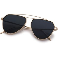 SheIn(sheinside) Gold Metal Frame Black Lens Aviator Sunglasses (£9.02) ❤ liked on Polyvore featuring accessories, eyewear, sunglasses, glasses, gold sunglasses, metal frame glasses, vintage glasses, retro sunglasses and retro glasses