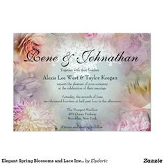 Elegant Spring Blossoms and Lace Invitation Lace Invitations, Elegant Wedding Invitations, Spring Blossom, Blossoms, Marriage, Valentines Day Weddings, Flowers, Wedding, Casamento