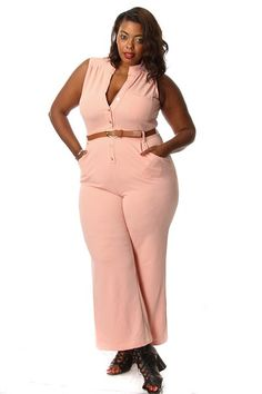 Plus Size Button Down Jumpsuit w/ Belt Pink Clubwear, Plus Size Women, Passion For Fashion, Plus Size Outfits, Plus Size Fashion, Button Downs, Jumpsuit, Womens Fashion, Sexy