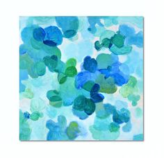 A lovely abstract painting with colors of teal and aqua blue is delicate and fresh. The small bubble like shapes were inspired by tiny flowers overlapping each other. I painted them in different shades of blue to give an appearance of transparency and depth. This acrylic painting is an original on 1 3/8 deep canvas with sides painted white. I have attached wires on the back. So it is ready to be hung in its new home. This is an original acrylic painting created by me, the artist, Garima ...