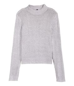 Check this out! Long-sleeved mock turtleneck sweater in a soft rib knit. Slightly wider cut. - Visit hm.com to see more.