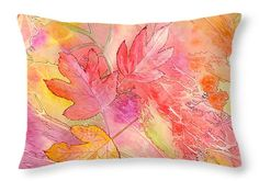 """Pink Leaves Throw Pillow 20"""" x 14"""""""