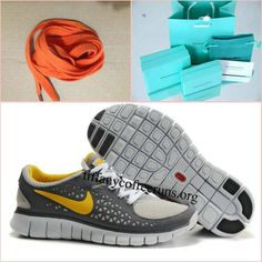 62f8c92be462f Womens Nike Free Run Gray Yellow Shoes half off Navy Shoes