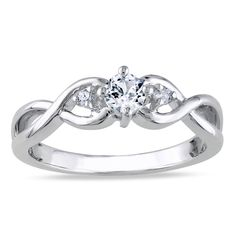 Miadora Sterling Silver 1/3ct TGW Gemstone and Diamond Accent Promise Ring (Size 4), White