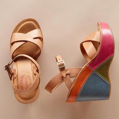 """BETTE COLORBLOCK PLATFORMS--Kork-Ease® classic neutral crisscross sandals turn it up a few notches with a topstitched wedge, colorblocked in four bright colors. Italian leather with rubber sole, 4"""" wedge on 1"""" platform. Imported. Whole sizes 5 to 11.View our entire Kork-Ease Collection"""