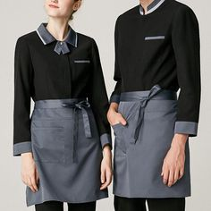Polyester Cotton Long Sleeve Black Shirt - Little Tailor Studio Bartender Uniform, Waiter Uniform, Cafe Uniform, Hotel Uniform, Restaurant Uniforms, Black Long Sleeve Shirt, Work Uniforms, Uniform Design, Preppy Style