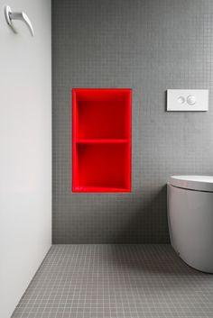 Karhard architektur & design // grey bathroom with ref built in shelf… Bathroom Red, Bathroom Toilets, Grey Bathrooms, Laundry In Bathroom, Modern Bathroom, Small Bathroom, Washroom, Bathroom Storage, Bad Inspiration