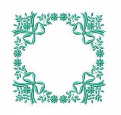 Bow and Flowers Frame Machine embroidery design Doily corner