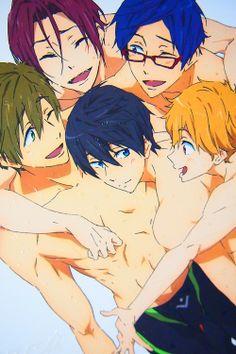 Rin, Makoto, Haruka, Nagisa and Rei Manga Anime, Manga Boy, Swimming Anime, Splash Free, Free Eternal Summer, Free Iwatobi Swim Club, Makoharu, Nagisa, Makoto Tachibana