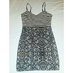 NWOT Mixed Pattern Party Dress Never got to wear this! Originally from 344. Adorable form-fitting dress with striped top and geo-print skirt. Can be rocked with a leather jacker for a night out, or styled as a casual daytime dress for summer. Tag size is medium but also fits a small. Offers welcome :) 344 Dresses