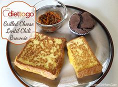 Amazing, healthy lunch from Diet-to-Go: Grilled Cheese Lentil Chili Brownie