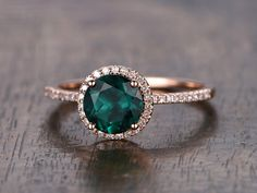 Emerald Engagement Ring Round Cut Ring 14K Rose by kilarjewelry