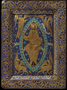 Gospel Cover made in Limoges, France ~ ca.1200 ~ Champlevé enamel; copper alloy, gilt, engraved ~ V & A Museum ~ This book cover, with Christ surrounded by the symbols of the four evangelists, is a fine example of work by the early Limoges enamellers.