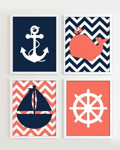 Nautical Prints - Navy and Coral set of 4 - Girl Beach Ocean Sea more colors available