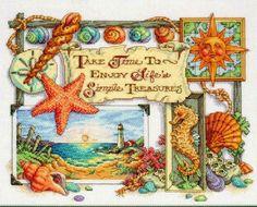 Grande raccolta di Schemi a Punto croce, gratis da scaricare: Punto croce creativo -sole, mare e conchiglie