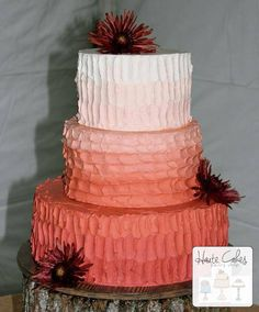 Northern Virginia Wedding Cake Peach Ombre Rustic | Haute Cakes Pastry Shop