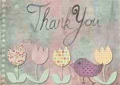 Thank You, Card, Greeting, Tulip