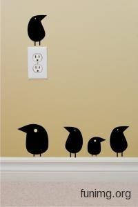 Птички .Наклейка для стен, трафарет для декора или виниловый стикер