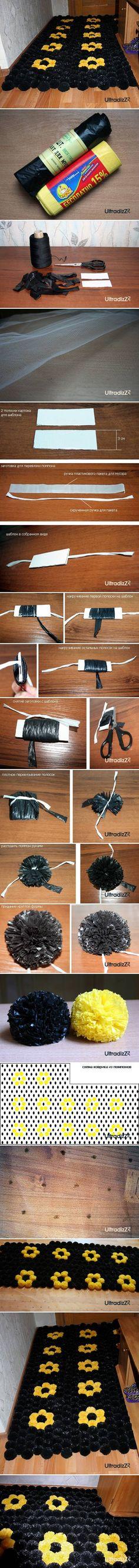 DIY Plastic Bag Pom Pom Mat DIY Plastic Bag Pom Pom Mat