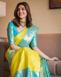 Kajal Aggarwal's Jewellery Style is So Elegant! Wedding Saree Blouse Designs, Pattu Saree Blouse Designs, Half Saree Designs, Silk Saree Blouse Designs, Fancy Blouse Designs, Blouse Patterns, Lehenga, Anarkali, Lehnga Dress