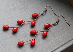 """Earrings """"crossed in red"""""""