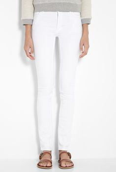 Acne White Mid Rise Skinny Jeans #r29summerstyle