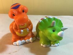 Fisher Price Little People Dinosaur Triceratops T-Rex Rare Toy Lot #FisherPrice