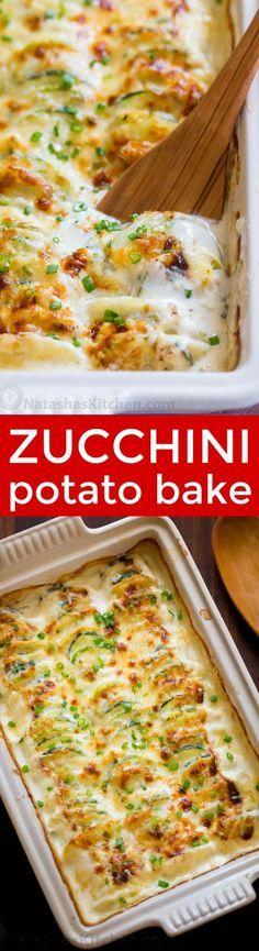 Creamy, cheesy Zucchini Potato Bake in a garli Alfredo sauce. This potato bake recipe has simple ingredients, comes together quickly and tastes so good! | natashaskitchen.com