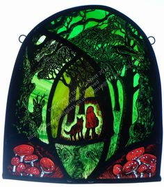 'Little Red Riding Hood' by stained glass artist Tamsin Abbott Little Red Riding Hood, Art Diy, Hand Painted, Glass Painting, Art Stained, Painting, Traditional Paintings, Art, Glass Art Sculpture