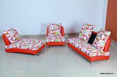beautiful recliner set with vivid patterns