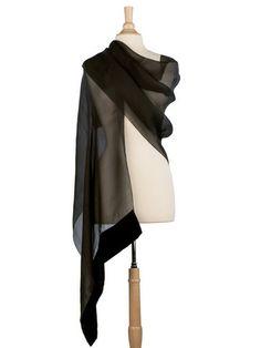 black sheer silk organza evening shawl