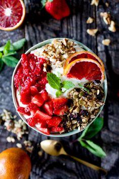 Fresh Fruit and Granola Bowl with Greek Yogurt and Mint