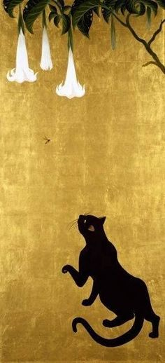 The cat art of Muramasa Kudo is both eclectic and entrancing especially Cat and Fly where a sleek elongated black cat looks up at a fly.  The composition's beauty lies in its perfect harmony of colors and symmetry.