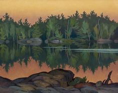 """""""Afterglow, Moose Lake,"""" Alfred Joseph Casson, oil on canvas, 24 x private collection. Tom Thomson, Emily Carr, Canadian Painters, Canadian Artists, Landscape Art, Landscape Paintings, Landscapes, Fall Paintings, Impressionist Landscape"""