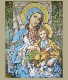 Mary Virgin and Baby Jesus in Ukrainian style Jesus And Mary Pictures, Images Of Mary, Mary And Jesus, Religious Images, Religious Icons, Religious Art, Christian Artwork, Christian Pictures, Blessed Mother Mary