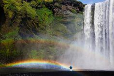 Beautiful falls and rainbow
