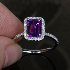 Emerald Cut Amethyst White Gold Pave Diamond Halo But with a sapphire Purple Rings, Purple Jewelry, Amethyst Jewelry, White Gold Jewelry, Emerald Jewelry, Diamond Jewelry, Jewelry Rings, Pretty Rings, Beautiful Rings