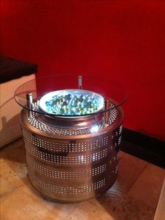 washing machine drum upcycled to a coffee table. #upcycle #upcycled #drum…