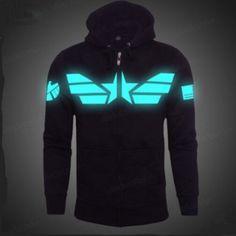 Luminous Captain America zip hoodie for men The Avengers black sweatshirt plus size