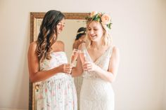 Cheers to the bride to be! Get ready in the stunning bridal salon at Potomac Point Winery, complete with natural light, sparkling wine and a Juliet balcony.  Venue: potomacpointwinery Photographers: kassielayne, aliraehaney   Styled Shoot Coordinator: klaynestyled Gown: avalaurennebride Florist: bergeronsflowers Brides And Bridesmaids, Bridesmaid Dresses, Wedding Dresses, Juliet Balcony, Bridal Salon, Sparkling Wine, Vows, Natural Light, Cheers