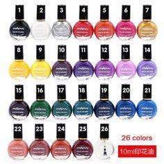 10 ml/Garrafa Selo Polonês Unha Polonês & Stamp Nail Art Polonês 26 Cores Opcionais Para Carimbar Unhas