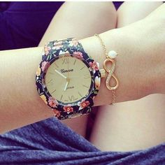 2014 Fashion Geneva Watch Rose Print Spring/Dark/Light Flower Geneva Watch for . Arm Candy Watch, Arm Party, Stylish Watches, Aliexpress, Quartz Watch, Fashion Watches, Light In The Dark, Girly Things, Bracelet Watch