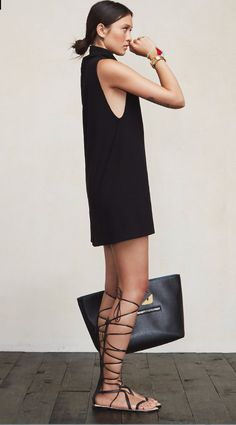 black dress + gladiator sandals | neutral style