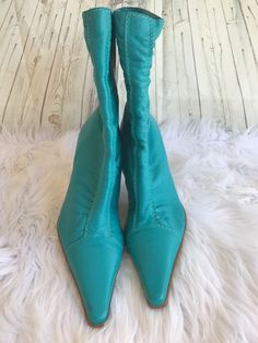 Bronx HELENE Turquoise Blue Leather High Heel Pointed Toe Boots Shoe Size 10 M #Bronx #KneeHighBoots